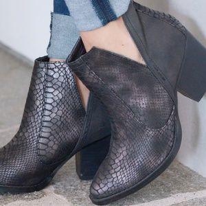 Metallic Snakeskin Ankle Booties LIKE NEW